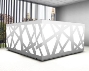 Zig-Zag / Banque d'accueil avec retour L220 x P188 cm decor Led mdd (ref. 14185)