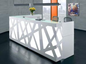 Zig-Zag / Banque d'accueil avec retour L248 x P160 cm decor Led mdd (ref. 14186)