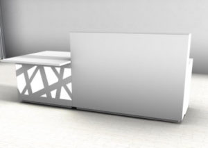 Zig-Zag / Banque d'accueil droite L260 cm avec PMR décoré Led mdd (ref. 14190)