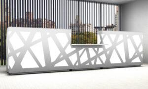 Zig-Zag / Banque d'accueil droite L540 cm PMR central et decor Led mdd (ref. 14193)