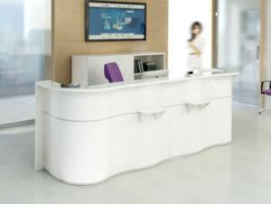 Wave / Banque d'accueil L356 cm Blanc mdd (ref. 14275)
