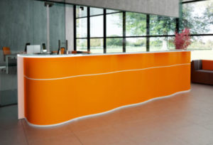 Wave / Banque d'accueil L388 cm Orange mdd (ref. 14279)