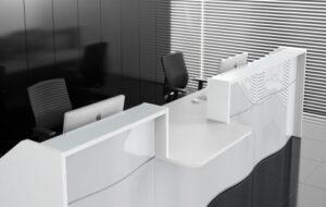 Wave / Banque d'accueil PMR central L394 cm Blanc mdd (ref. 14280)