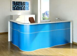 Wave / Banque d'accueil en angle L234 x P159 cm Bleu mdd (ref. 14283)