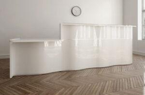 Wave / Banque d'accueil en angle avec PMR L331 x P181 cm Blanc mdd (ref. 14286)