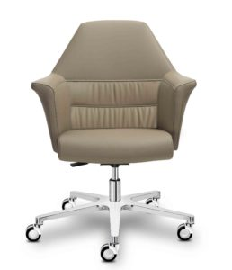 Of Course / Fauteuil manager en cuir Beige Sitland (ref. 14388)