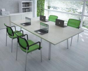Ogi A / Table de réunion L240 x P140 cm Blanc mdd (ref. 14498)