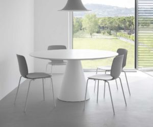 Ikon / Table ronde Ø 129 cm stratifié Blanc Pedrali (ref. 14800)