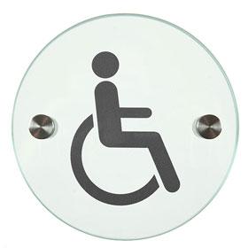 Orbis / Signalétique Handicapés Diam 12 cm en verre SignSystems (ref. 15403)