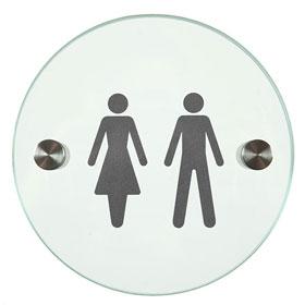 Orbis / Signalétique Hommes-Femmes Diam 12 cm en verre SignSystems (ref. 15404)
