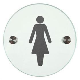 Orbis / Signalétique Femmes Diam 12 cm en verre SignSystems (ref. 15405)