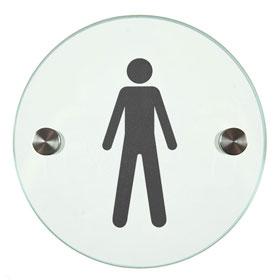 Orbis / Signalétique Hommes Diam 12 cm en verre SignSystems (ref. 15406)