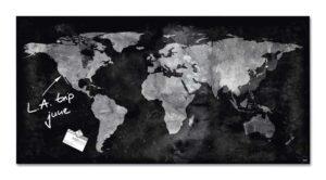 Vision / Tableau en verre magnétique 91 x 46 cm Carte du monde Sigel (ref. 15543)