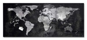 Vision / Tableau en verre magnétique 130 x 55 cm Carte mondiale Sigel (ref. 15545)