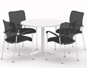 Meetingtime / Table ronde Ø 116 cm mélaminé Blanc MBEco (ref. 15592)