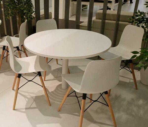 Meetingtime / Ensemble Table ronde Ø 116 cm stratifié + 4 chaises Blanc MBEco (ref. 15594)