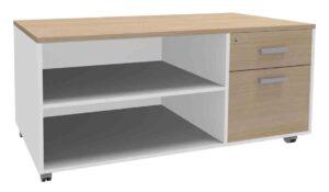 Steely manager / Console de bureau mobile 2 tiroirs dont 1 DS Burocean (ref. 16070i)