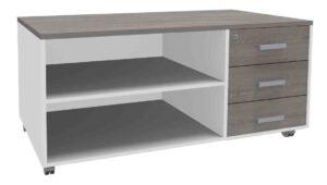 Steely manager / Console de bureau mobile 3 tiroirs Burocean (ref. 16071i)