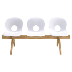Olivia Wood Beam / Olivia chaises sur poutre bois 3 places blanc Rexite (ref. 16170)