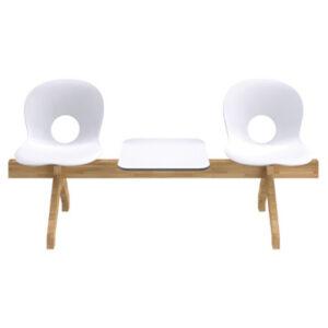 Olivia Wood Beam / Olivia chaises sur poutre bois 2 places + une tablette blanc
