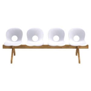Olivia Wood Beam / Olivia chaises sur poutre bois 4 places blanc Rexite (ref. 16172)