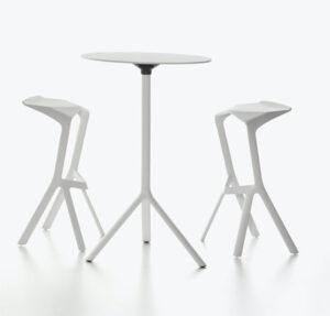 Miura / Table haute ronde Ø 80 cm rabattable Hpl Plank (ref. 16546i)