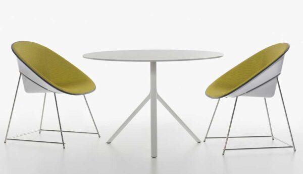 Miura / Table de réunion ronde Ø 100 cm rabattable Hpl Plank (ref. 16567i)