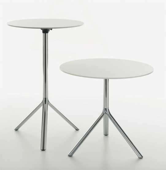 Miura / Table haute ronde Ø 80 cm rabattable Hpl Plank (ref. 16574)