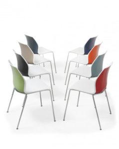 Kalea / Chaise visiteur 4 pieds bicolore Kastel (ref. 19910i)