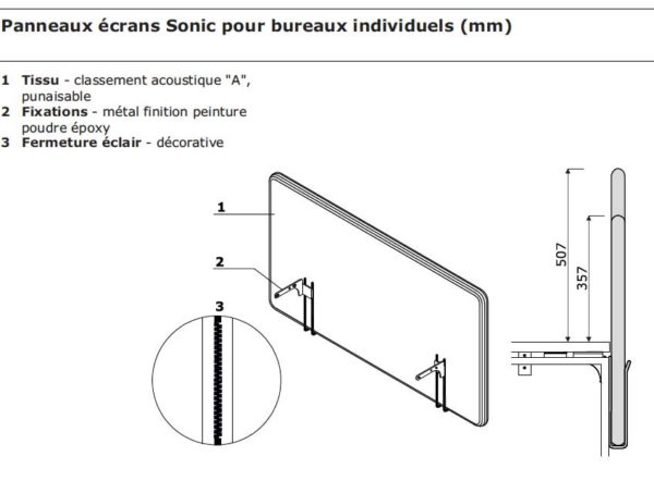 Sonic Mdd / Ecran de séparation acoustique bureau individuel mdd (ref. 21501i)