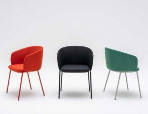 Grace Mdd / Chaise de réunion tapissée 4 pieds mdd (ref. 26812i)