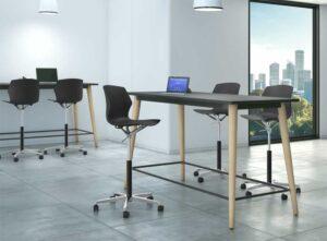 Nil / Table haute avec pieds en bois MBDesign (ref. 27774i)